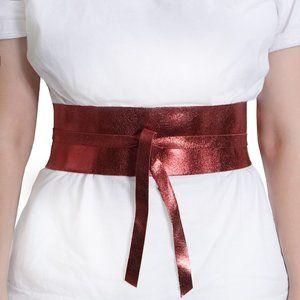 MM6 Maison Martin Margiela red obi waist belt